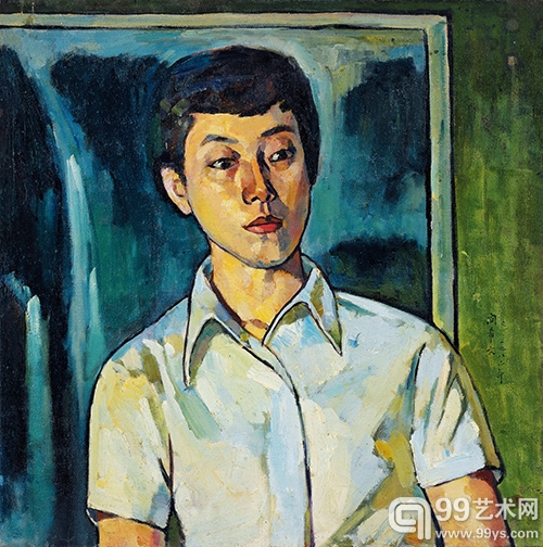 LOT1141 闵希文 女青年 油彩画布 1982年 53×53cm