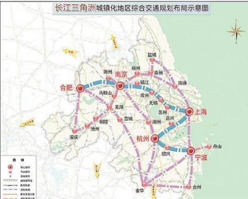 盐城在内的长江三角洲交通网络规划,并把盐城至南通铁路(盐通铁路),盐