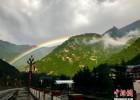 暴雨过后 九寨沟地震灾区现双彩虹