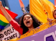 巴西民众游行声援停职总统 抗议临时总统