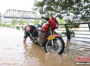 洪峰过境广西柳州 民众摸鱼拍照洗车各不耽误