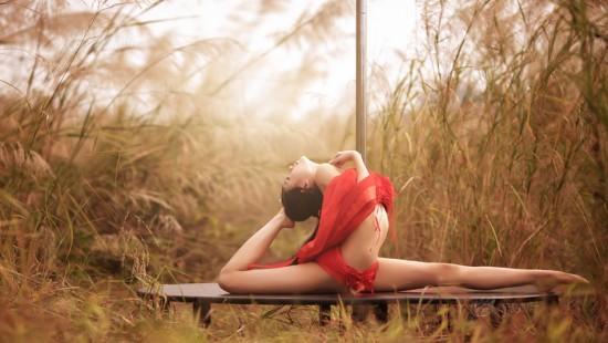钢管舞娇娘拍秋日唯美写真 红绸肚兜姿势妖娆
